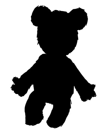 cute teddy bear: black silhouette of teddy bear