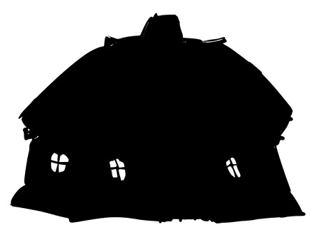 traditional house: black silhouette of Ukrainian traditional house Illustration