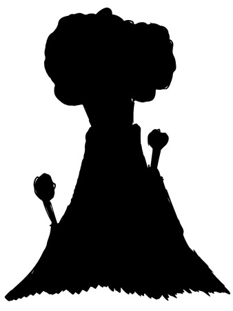 ausbrechen: schwarze Silhouette des Vulkans Illustration