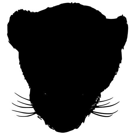 endangered species: black silhouette of big cat
