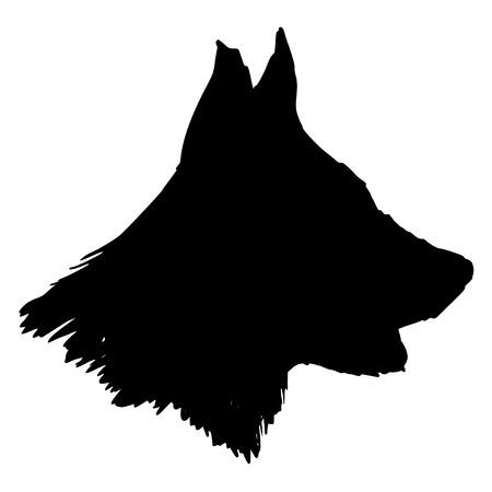 black silhouette of german shepherd
