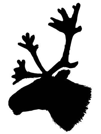 caribou: black silhouette of reindeer