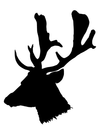 whitetail deer: black silhouette of head of deer