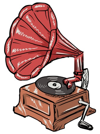 phonograph: hand drawn, sketch illustration of phonograph