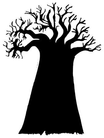 black silhouette of baobab Иллюстрация