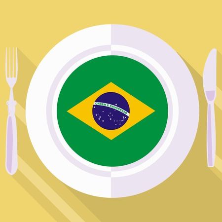 flavored: plate in flat style with flag of Brazil