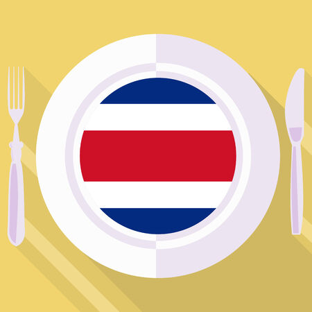 costa rica: plate in flat style with flag of Costa Rica