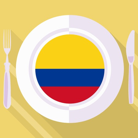 flavored: plate in flat style with flag of Colombia Illustration