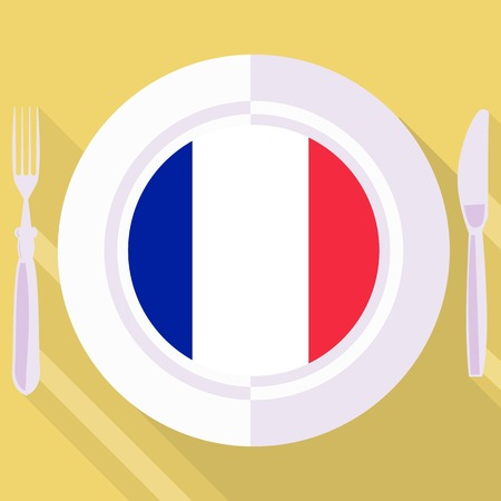 flavored: plate in flat style with flag of France Illustration