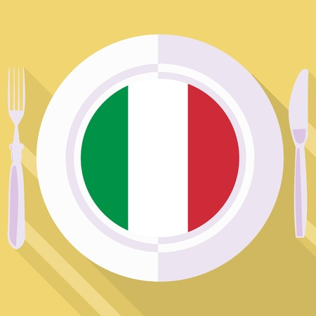 italian kitchen: plate in flat style with flag of Italy Illustration