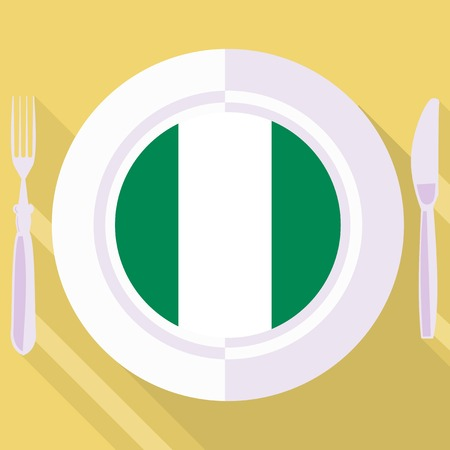 flavored: plate in flat style with flag of Nigeria