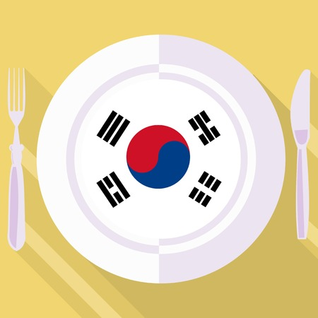 flavored: plate in flat style with flag of South Korea