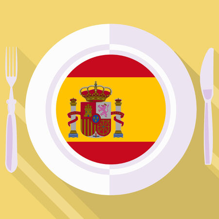 kitchener: plate in flat style with flag of Spain