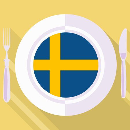 plate in flat style with flag of Sweden Vector