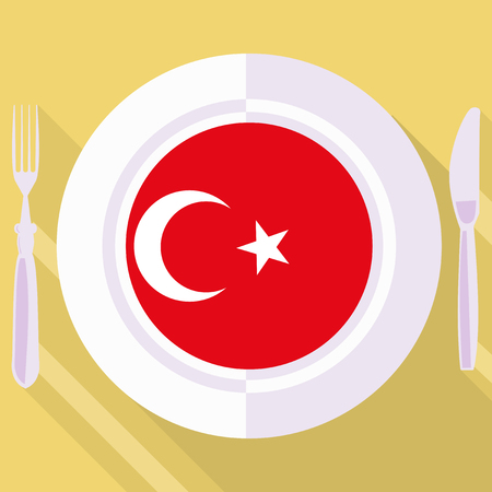 turkish dessert: plate in flat style with flag of Turkey