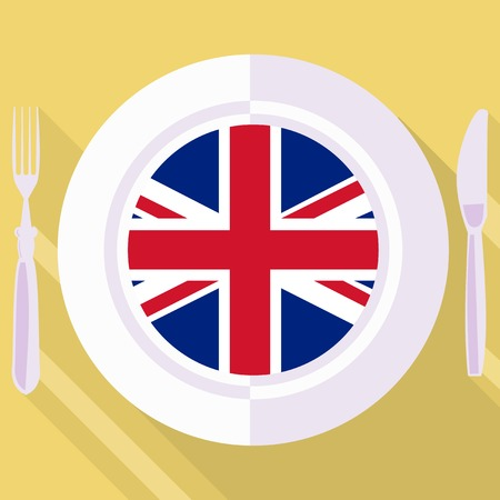 britain: plate in flat style with flag of Great Britain