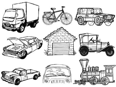 mini bike: set of sketch illustrations of transportation