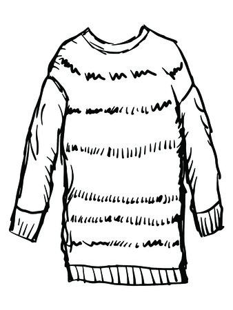 woollen: hand drawn, sketch illustration of female winter pullover Illustration