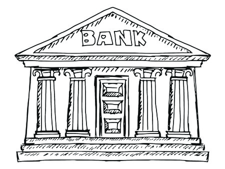 building sketch: hand drawn, sketch illustration of bank