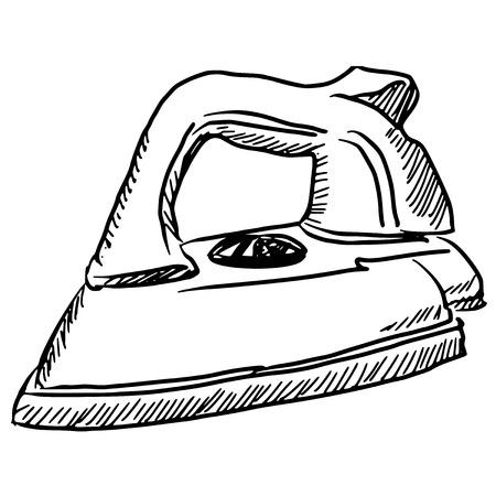 hand drawn, sketch illustration of steam iron Vector