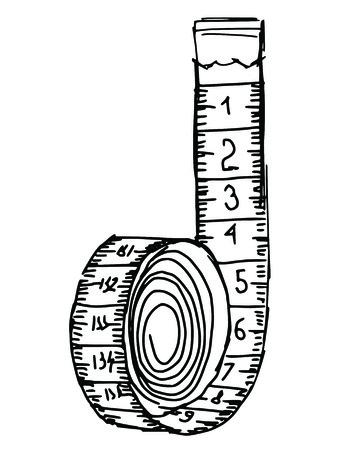 metro medir: dibujado a mano, ilustración boceto de la cinta métrica