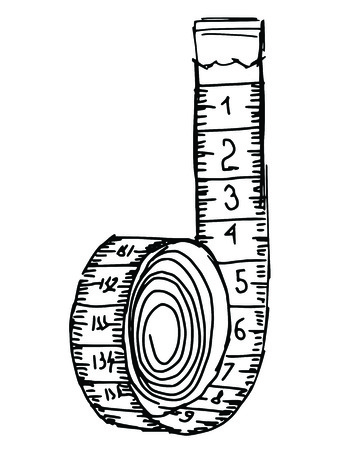 hand drawn, sketch illustration of measuring tape