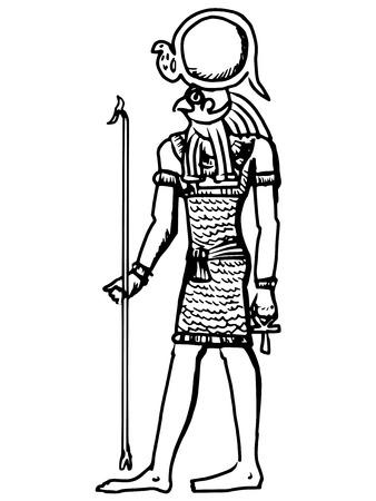civilisation: sketch, cartoon illustration of god of ancient Egypt