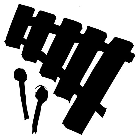 xylophone: black silhouette of xylophone Illustration