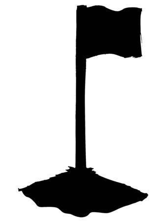 corner flag: black silhouette of soccer corner flag Illustration