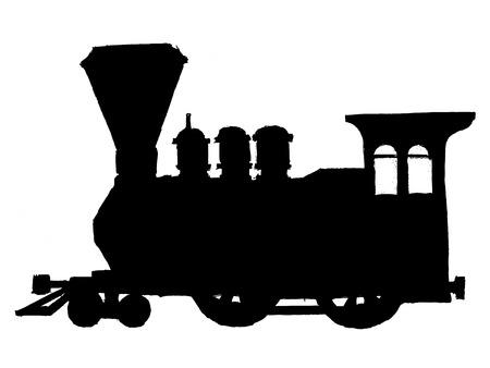 negro silueta de tren de vapor de época
