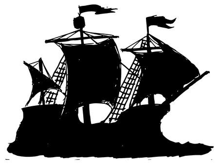 caravel: black silhouette of caravel