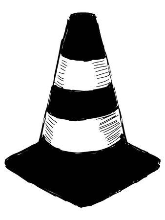 black silhouette of traffic cone