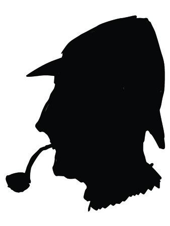 sherlock holmes: black silhouette of Sherlock Holmes