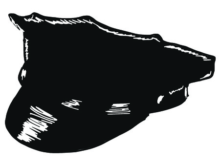 peaked cap: black silhouette of police peaked cap