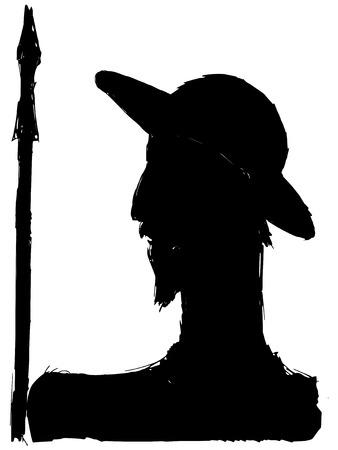 don quichotte: silhouette noire de Don Quichotte