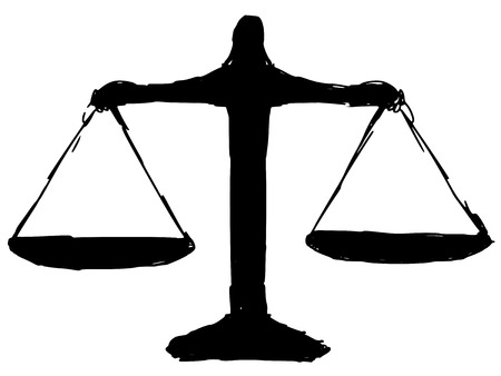 fair trial: black silhouette of justice scales Illustration