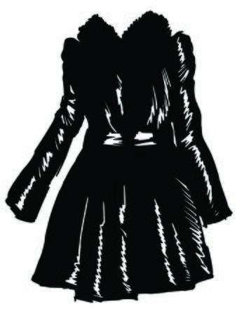 woman in fur coat: black silhouette of women coat