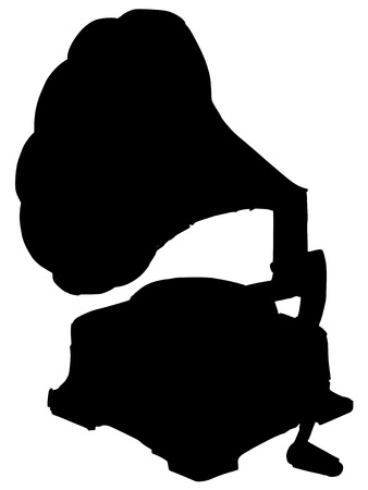 phonograph: black silhouette of phonograph
