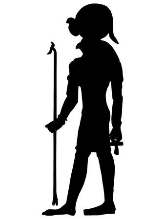 artefact: black silhouette of hieroglyph of ancient Egypt Illustration