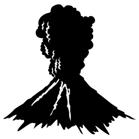 natural forces: silhouette of volcano