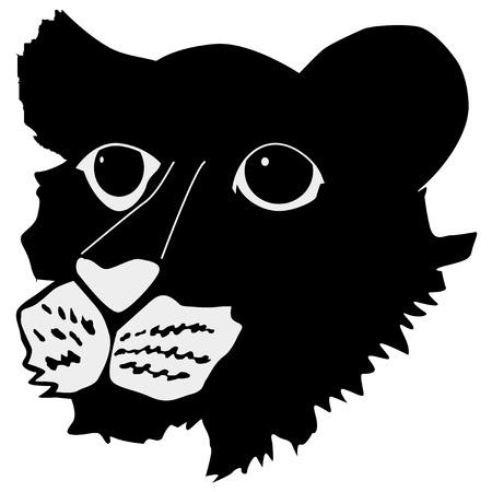 Tiger cub: silueta de cachorro de tigre Vectores