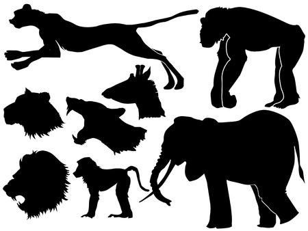 serengeti: set of silhouettes of African animals