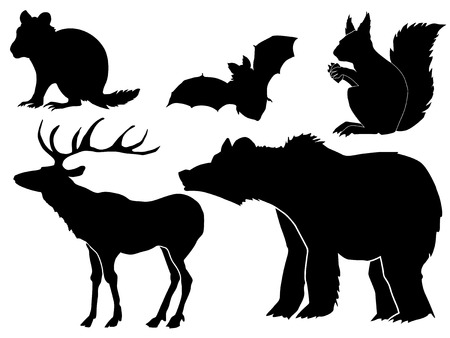 set of silhouettes of forest animals