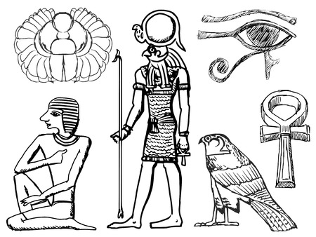 civilisation: set of sketch illustrations of ancient Egyptian symbols