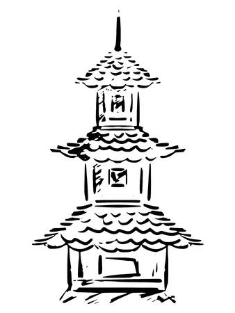 sketch, hand drawn illustration of pagoda Vector
