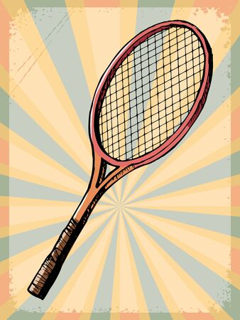 racquet: stylish, vintage, grunge background with tennis racquet Illustration