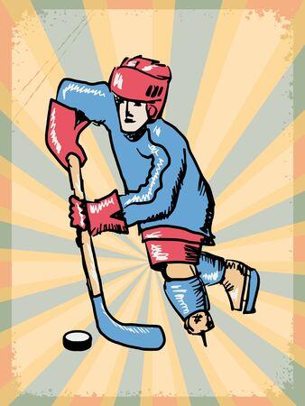 hockey player: stylish, vintage, grunge background with hockey player Illustration