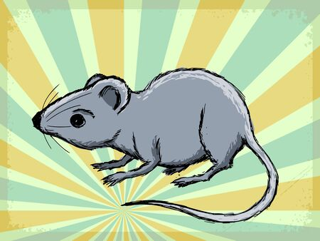 house mouse: vintage, grunge background with house mouse Illustration