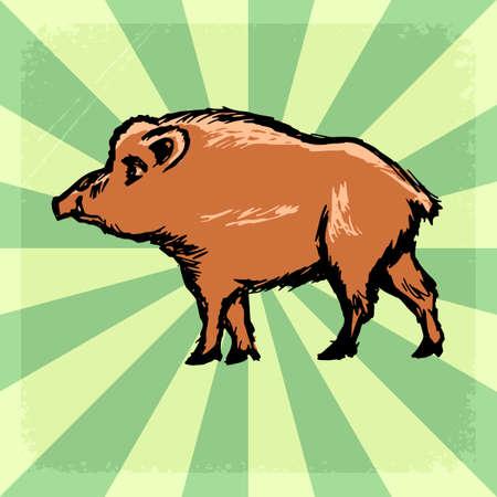 wild boar: vintage, grunge background with wild boar
