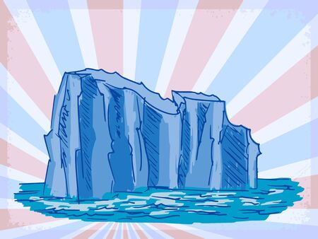 ice surface: vintage, grunge background with iceberg